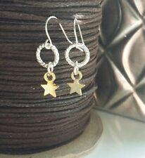 Silver Gold Star Earrings Long Drop Dangle Hook