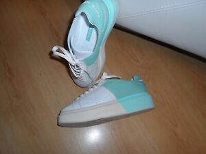 MANUEL BARCELO MINT & WHITE SNEAKERS SIZE 5 UK LEATHER RRP - £210.00