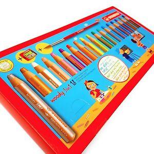 Stabilo Woody Jumbo Pencil Set of 18 - 3 in 1 + Sharpener and Paint Brush