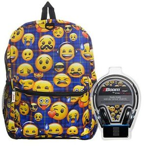 Emoji Blue Plaid 17 Inch Backpack with Bonus Headphones
