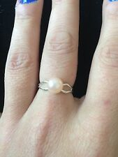Handmade Silver Plated Ring With Gorgeous Little Pink  Faux Pearl Ring