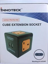 BLACK 2 meter CUBE EXTENSION SOCKET/LEAD 2 USB CHARGING PORTS,3 UK MAINS OUTLET