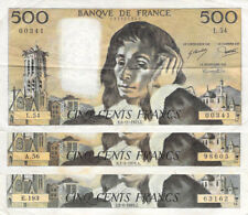 France Lot de 3 x 500 Francs Pascal - Années variées 1968-1993 - TB à TB+