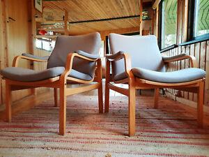 Armchair Club Chair Vintage 60er Retro Easy Chair Danish Westnofa Era Blue 1/2