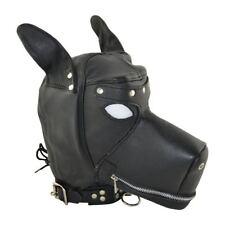 Cagoule en cuir Forme de chien Bâillon Noir
