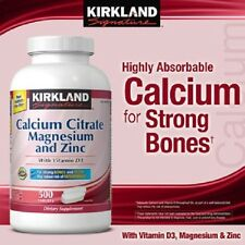 Kirkland Calcium Citrate with Vitamin D3, Mg, Zinc 500 tablets - NO TAX - NEW
