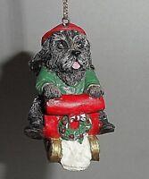 Kurt S Adler Resin Ornament Scottish Terrier Pup Riding Sled