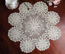 Cotton Hand Crochet Lace Doily Doilies Placemat Tablecloth Round 60CM Ecru FP02