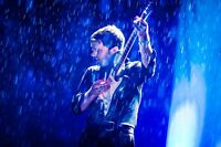 """oil painting handpainted on canvas"""" a man playing the guitar in the rain """"@N2292"""