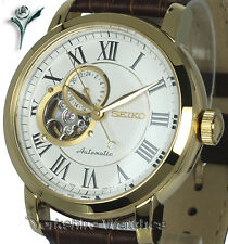 New SEIKO CLASSIC GOLD TONE AUTO WHITE SKELETON FACE LEATHER STRAP SSA232K1