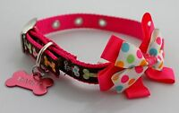 Dog Bow Tie Collar Pet Grooming Accessories Puppy Bowtie with Engraved ID Tag