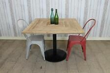 RECLAIMED PINE 60CM X 60CM MADE TO ORDER CAFE TABLE WITH METAL PEDESTAL BASE