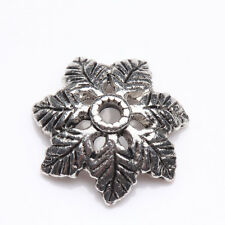 15Pcs Tibet Silver Plated Leaf Spacer Bead Caps Jewelry Findings DIY 15x4mm