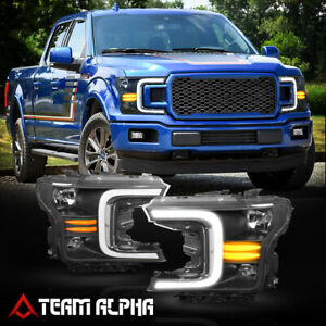 Fits 2018-2021 Ford F-150 [LED SEQUENTIAL SIGNAL] Black/Clear Halogen Headlight