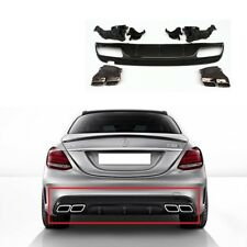 New Genuine MERCEDES C W205 C63 AMG Rear Bumper Diffuser Kit Night Package OEM