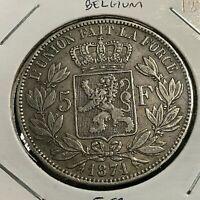 1871 BELGIUM SILVER 5 FRANCS CROWN COIN