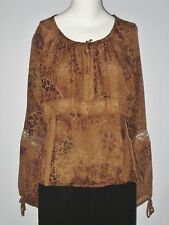 NEW YORK CITY DESIGN CO. Size XL Brown 100% Silk Fully Lined Long Sleeves Blouse