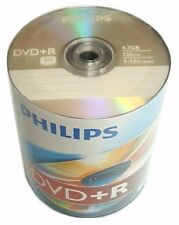 100 PHILIPS Blank DVD+R Plus R Logo Branded 16X 4.7GB Media Disc