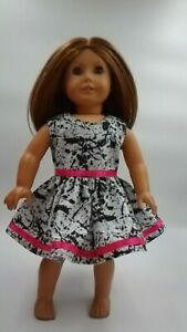 Summer Party Dress 18 inch Doll Clothes Fits American Girl Black White Pink