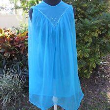 Vintage 60's PINUP Girl Dreamy Blue Sheer sleeveless Dress Medium