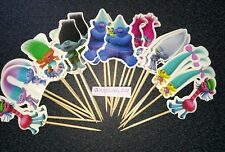 16 x Trolls Cake Picks / Cupcake Toppers , Flags Kids Birthday Cake Decorations