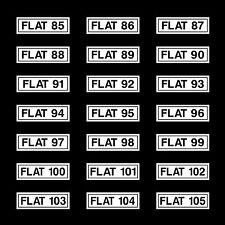Flat Numbers 85 - 105 Sign, Sticker - 190mm x 60mm Bedsit - Masionette