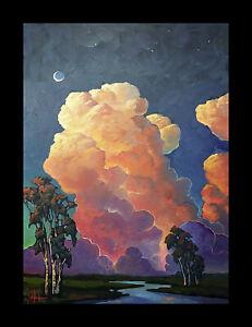 Wm HAWKINS  Large Clouds Moon Landscape Craftsman Impressionism Oil Painting Art
