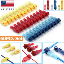 60pcs 22 10 Awg Insulated T Taps Quick Splice Wire Terminal Connectors Combo Kit