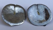 Vintage Modernist Sterling Silver Lily Pad Earrings Museum Fine Art