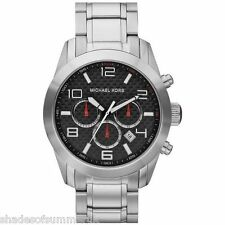MICHAEL KORS MK8218 MENS CHRONOGRAPH STAINLESS STEEL & BLACK DIAL WATCH