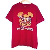 Disney Parks Walt Disney World Mickey Minnie Mouse Mens T-Shirt Size L Maroon