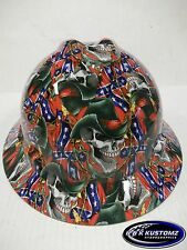New Custom MSA V-Gard (Full Brim) Hard Hat W/FasTrac Rebel Cowboy Pattern