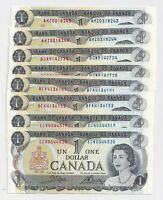 4 Pairs of Consecutive 1973 $1 Bank of Canada Notes AU/UNC