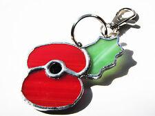 Handmade vitraux British Legion style Poppy-Porte-clé ou sac à main accessoire