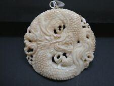Dragon Carved Water Buffalo Bubalus Bubalis Bone Sterling Round Pendant Necklace