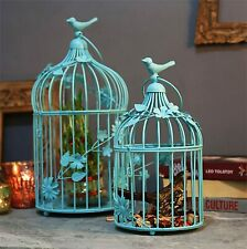 Antique Lantern Bird Cage Home Decor as Hanging Pendant Chandelier Set of 2