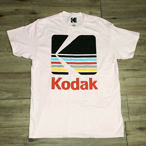 New Kodak Camera Film Logo Pink Multicolor Short Sleeve Tee Men Size Large