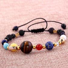 Universe Planets Galaxy Eight Solar Stone System Beads Bracelet Men Women Gift