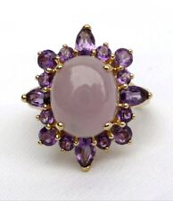 Michael Valitutti 14K Untreated Lavender Jade & Amethyst Ring NH 4.2TCW Sz 6.5