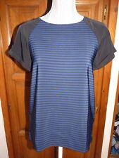 ZARA T-shirt rayé bleu noir ample 36/38 haut top