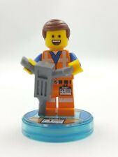 Lego Minifigure Emmet TLM Lego Movie Smile Jack Hammer  Pieces Glued to Stand