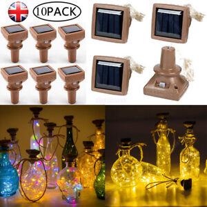 5/10Pcs 20 LED Solar Wine Bottle Cork Shaped String Fairy Lights Night Lamp Xmas