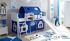 Lit mezzanine avec toboggan EKKI Pin massif teinté blanc tissus Bleu-BLanc