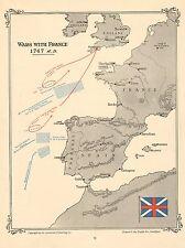 MAP/BATTLE PLAN ~ WARS WITH FRANCE ~ 1747 ~ HAWKE DE L'ETENDUERE
