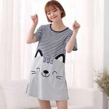 Brand New Women Cute Kitten Sweet Cat Print Cotton Sleepwear Nightgown Dresses