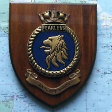 Vintage HMS Fearless Painted Royal Navy Ship Badge Crest Shield Plaque b