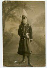 Russian teenage girl in military uniform Vintage Photo Postcard 1916