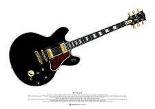 B. B. King lucille poster artistico per chitarra Taglia a2