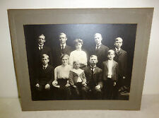 Antique photo of family of seven handsome boys, 1 girl; circa 1900, brothers