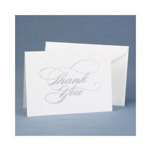 Wedding Thank You Cards Silver Foil Embossed Thank you Notes Pack of 50